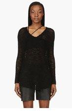 HELMUT LANG Black Silk Open-Knit Sweater for women