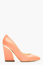 CHLOE Rose Leather Gold-Trimmed Pumps for women