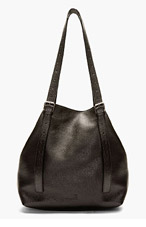 MM6 MAISON MARTIN MARGIELA Black Pebbled Leather Tote Bag for women