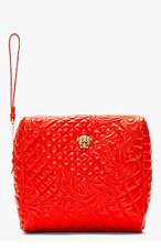 VERSACE Vermilion Red Quilted Clutch for women