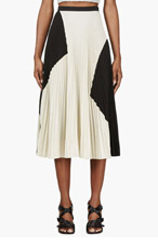 PROENZA SCHOULER Black & Ivory Pleated Crepe Skirt for women