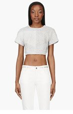 PROENZA SCHOULER Grey Leather paneled Python Crop- Top for women