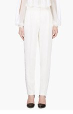 ZUHAIR MURAD Ivory Lace Trim Trousers for women