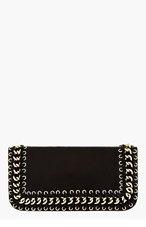 BALMAIN Black Lambskin Bifold Chain Clutch for women