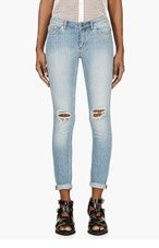 BLK DNM Blue Bleached Distressed Skinny Jeans for women
