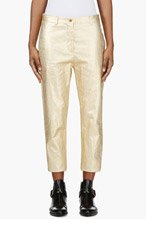 ACNE STUDIOS Gold Linen Cropped Kone Trousers for women