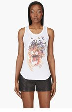ALEXANDER MCQUEEN White Printed Racerback Tank Top for women