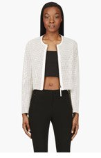 HELMUT LANG White Leather Mesh Sift Jacket for women