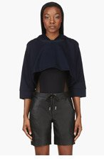 MM6 MAISON MARTIN MARGIELA Navy Boxy Dolman Cropped hoodie for women