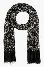 MARC JACOBS Black & White Print Silk Blend Scarf for women