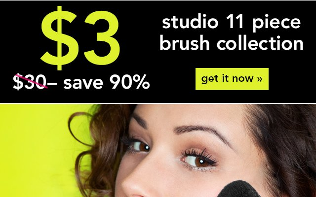 Studio 11 Pie ce Brush Collection for $3 - Save 90% Use Code: BRUSHES Get It Now!