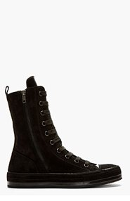 ANN DEMEULEMEESTER BLACK Suede & leather high-top sneakers for men