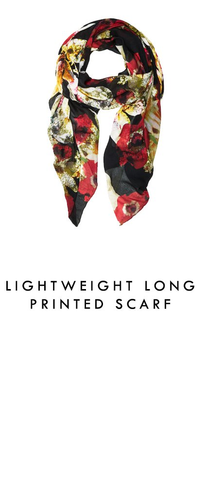 Lightweight Long Printed Scarf