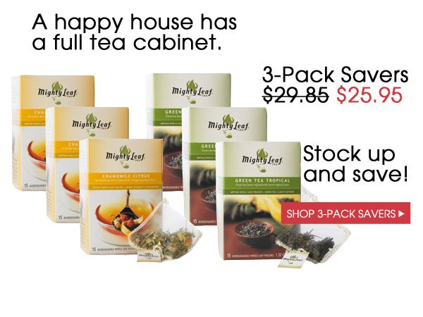 A happy house has a full tea cabinet. 3-Pack Savers $25.95. Stock up and save. Shop 3-Pack Savers