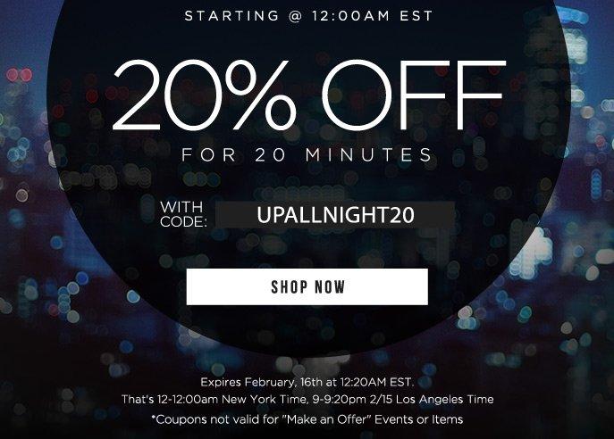 Happy Hour - 20% Off