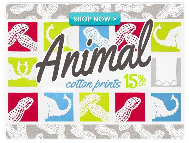 15% off Animal Cotton Print Fabrics