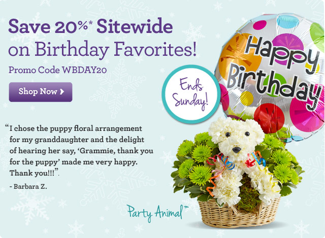 Save 20%* Sitewide on Birthday Favorites! Promo Code WBDAY20 Shop Now