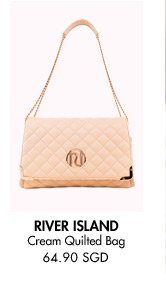 RIVER ISLAND Cream Quilted Chain Strap Bag - 64.90 SGD