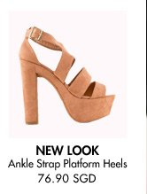 NEW LOOK Chunky Ankle Strap Platform Heels - 76.90 SGD