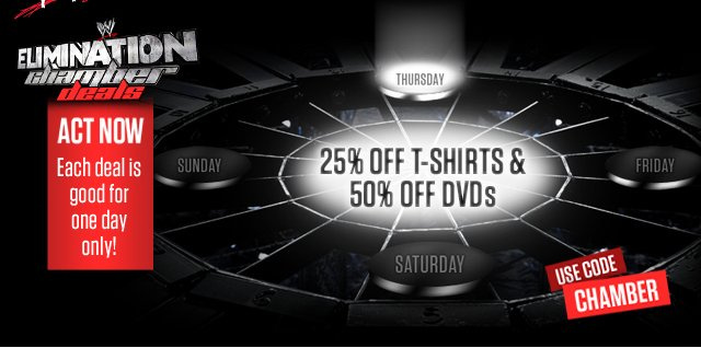 Elimination Chamber Deals: 25% OFF Ts 50% OFF DVDs