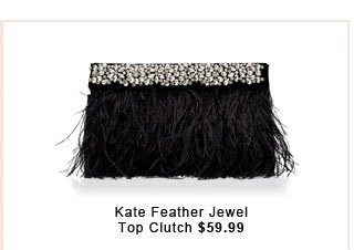 Kate Feather Jewel Top Clutch.