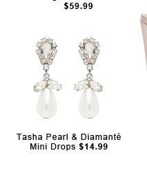 Tasha Pearl and Diamante Mini Drops