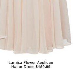 Larnica Flower Applique Halter Dress