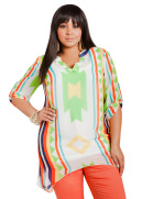 Sheer Aztec Tunic Top