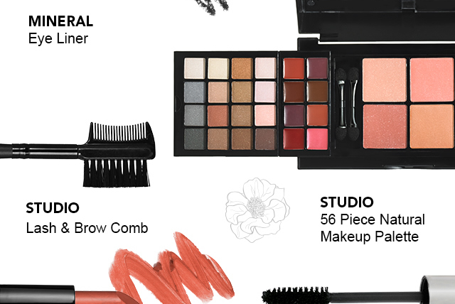 Studios' Lash & Brow Comb and 56 Piece natural Makeup Palette and Mineral Eyeliner