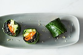Second Place - Collard Roll-Ups with Coconut Curry Kale