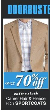 DOORBUSTER Camel Hair & Fleece Rich Sportcoats - over 70% Off*