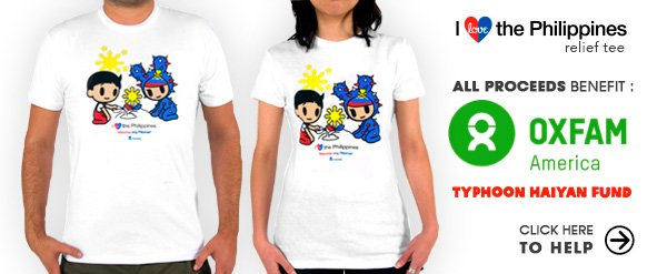 In response to the Typhoon Haiyan disaster, tokidoki has created a limited edition Philippines Relief Tee to raise funds for relief and rebuilding efforts. All proceeds from the purchase of tokidoki Philippines Relief t-shirts will go directly to the OXFAM America Typhoon Haiyan Fund.Please support us as we stand with our friends in the Philippines.