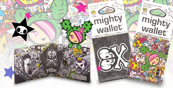 Our limited edition artist series DYNOMIGHTY x tokidoki and DYNOMIGHTY x TKDK wallets are now available exclusively through tokidoki. Supply was limited to DYNOMIGHTY and JapanLA in 2013. This vibrant and super durable wallet is tear-resistant, water-resistant, expandable and recyclable. It features Donutella, SANDy, Mozzarella, Stellina and more so you can take all of your favorite tokidoki characters with you wherever you go!