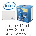 up to 40usd off intel CPU plus SSd combos
