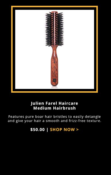 Julien Farel Haircare Medium Hairbrush Features pure boar hair bristles to easily detangle and give your hair a smooth and frizz-free texture.$50.00Shop Now>>