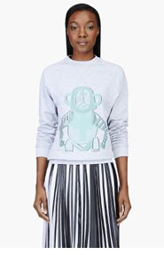 OSTWALD HELGASON Heather Grey Tribal Monkey Sweatshirt for women