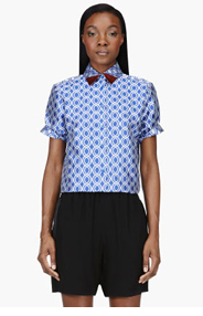 OSTWALD HELGASON Blue Circle pattern contrasting tip blouse for women