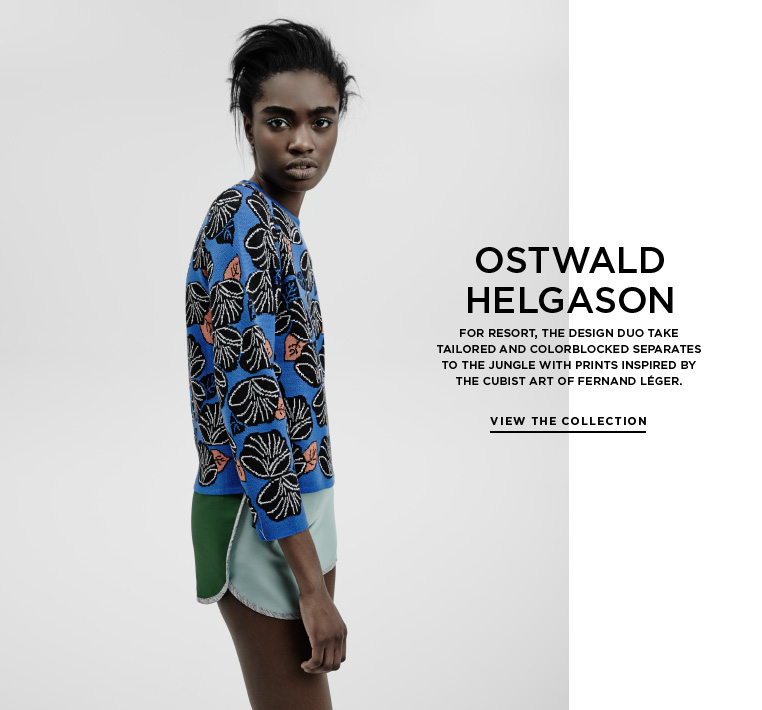 Jungle color from Ostwald Helgason For Resort, the design duo take tailored and colorblocked separates to the jungle with prints inspired by the cubist art of Fernand Léger.