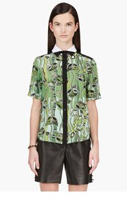 OSTWALD HELGASON Green silk crepe vine print blouse for women