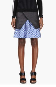 OSTWALD HELGASON Black & Blue Layered Circle print Skirt for women
