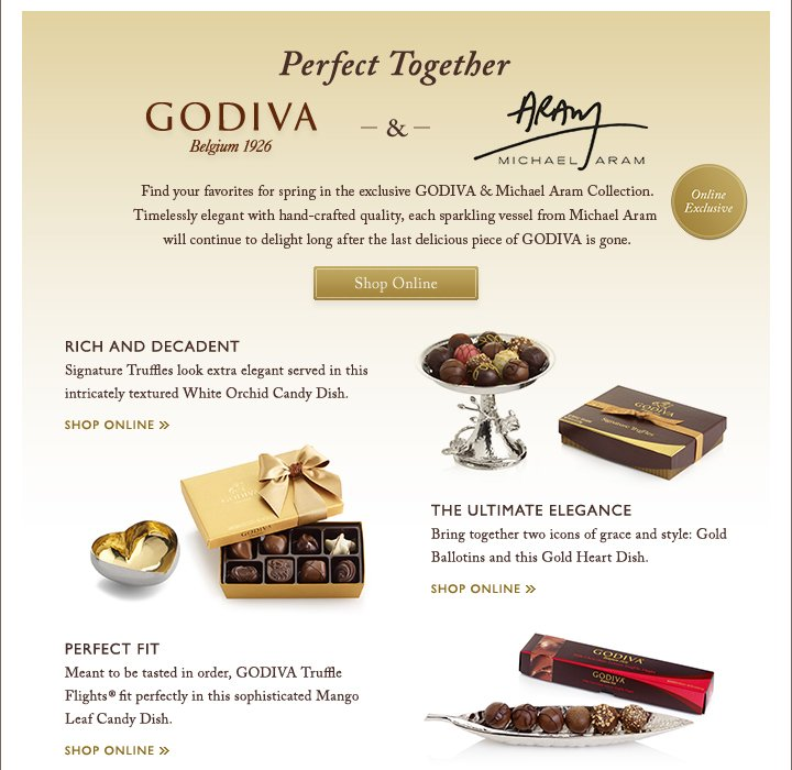 Perfect Together GODIVA & ARAM | Shop Online