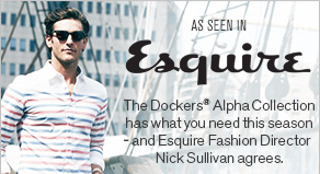 As seen in Esquire The Dockers Alpha Khaki Collection has what you need this season - and Esquire Fashion Director Nick Sullivan agrees.