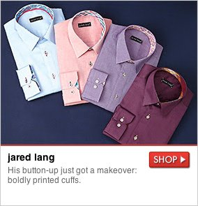jared lang - His button-up just got a makeover: boldly printed cuffs. SHOP