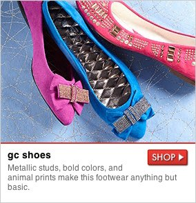gc shoes - Metallic studs, bold colors, and animal prints make this footwear anything but basic. SHOP