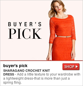 buyer's pick - SHARAGANO CROCHET KNIT DRESS - Add a little texture to your wardrobe with a lightweight dress-that is more than just a spring fling. SHOP