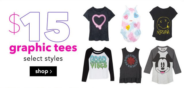 $15 graphic tees - select styles