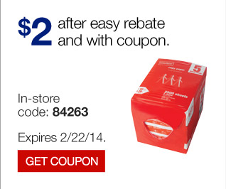 $2  after easy rebate and with coupon. In store code: 84263. Expires  2/22/14. Get coupon.