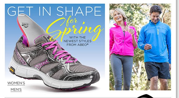 Get in Shape for Spring! Save 40% on Custom Orthotics with ABEO shoe purchase* Shop ABEO New Arrivals - Our #1 Athletic Shoes.  Just in, over 15 New Styles. Experience the future of footwear.  Plus, find great styles from UGG® Australia, Raffini, ABEO, Dansko and more of your favorite brands! Shop now to find the best selection online and in stores at The Walking Company.