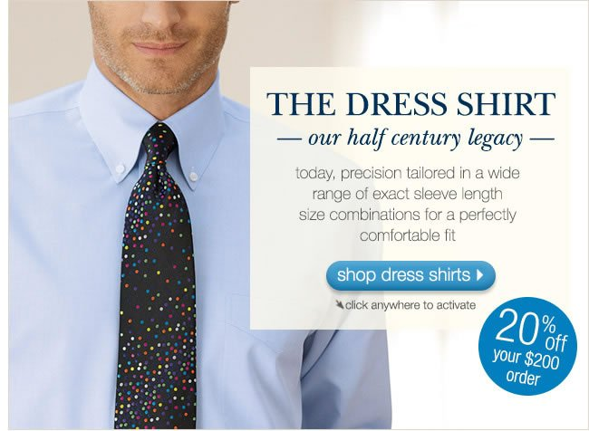 The Dress Shirt: Our Half Century Legacy. 20% Off Your $200 Order.