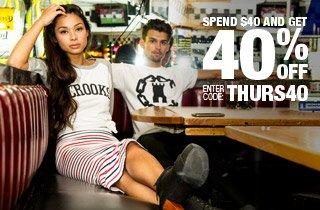 Spend $40 Get 40% Off